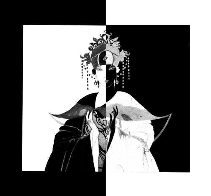 la principessa turandot, elaborazione grafica che sfrutta il simbolismo dei colori bianco e nero, opposti e alternati