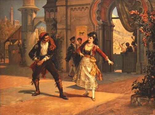 carmen di bizet litografia di una scena dell'opera che ritrae carmen e don josè