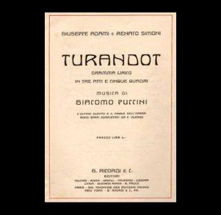 Frontespizio del libretto d'opera di Turandot composto da Giuseppe Adami e Renato SImoni