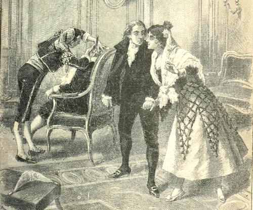 Il Barbiere di Siviglia di Rossini, scena del taglio di capelli in cui si vedono Rosina, il conte d'Almaviva, Figaro e Don Bartolo