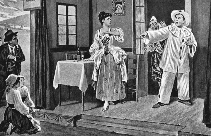 Pagliacci - Scena dell'opera, con Canio (Pagliaccio) che minaccia Nedda (Colombina) in scena, mentre il pubblico osserva turbato